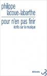 Essai, philosophie, musique, francophone, Philippe Lacoue-Labarthe, Christian Bourgois éditeur, Jean-Pierre Longre